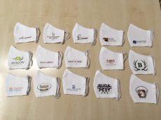 Logózott textil szájmaszk (mosható, cég logóval ellátott)